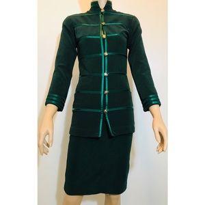 Rare VTG Tadashi Green Mandarin Two-Pcs Suit XS